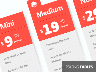 Pricing Tables free psd pricing tables orange