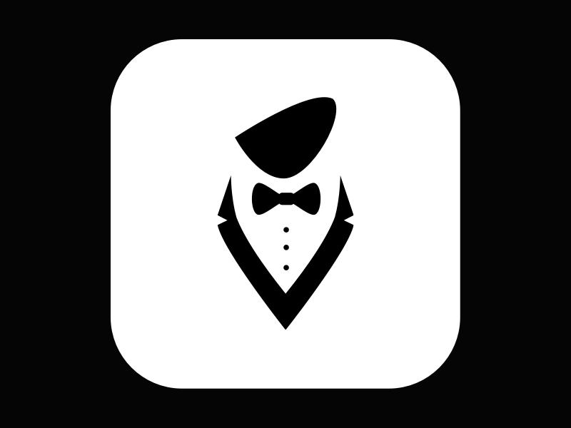 Daily005 - App Icon ui waiter gentleman white black icon app dailyui