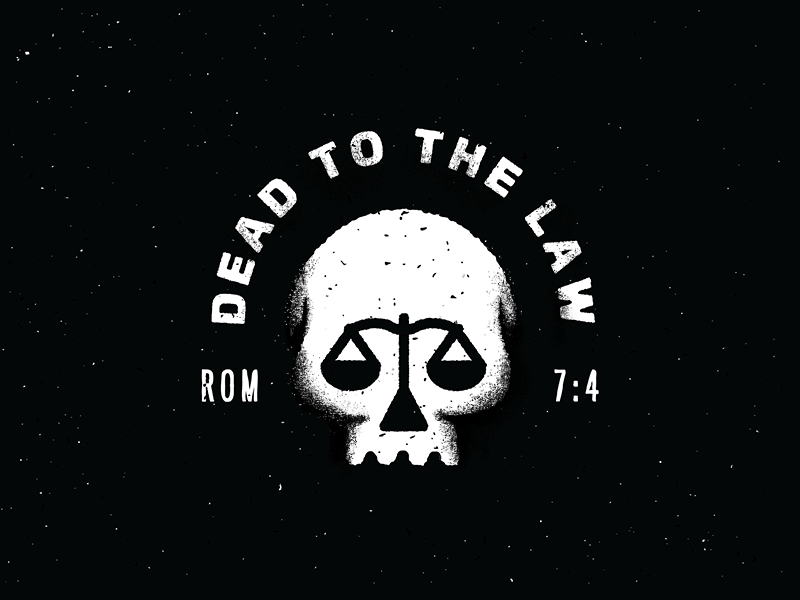 dead to the law dead law badge church scale skull