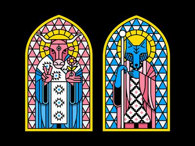 Preacher Stained Glass stained glass preacher coyote cow