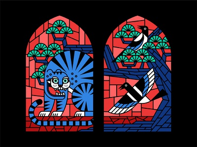Preacher Stained Glass '17 korea pine bird magpie tiger stained glass