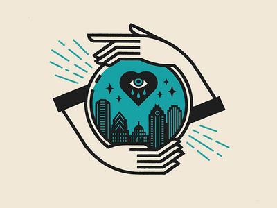 Permanent Records crystal ball hand tear heart city austin illustration tattoo