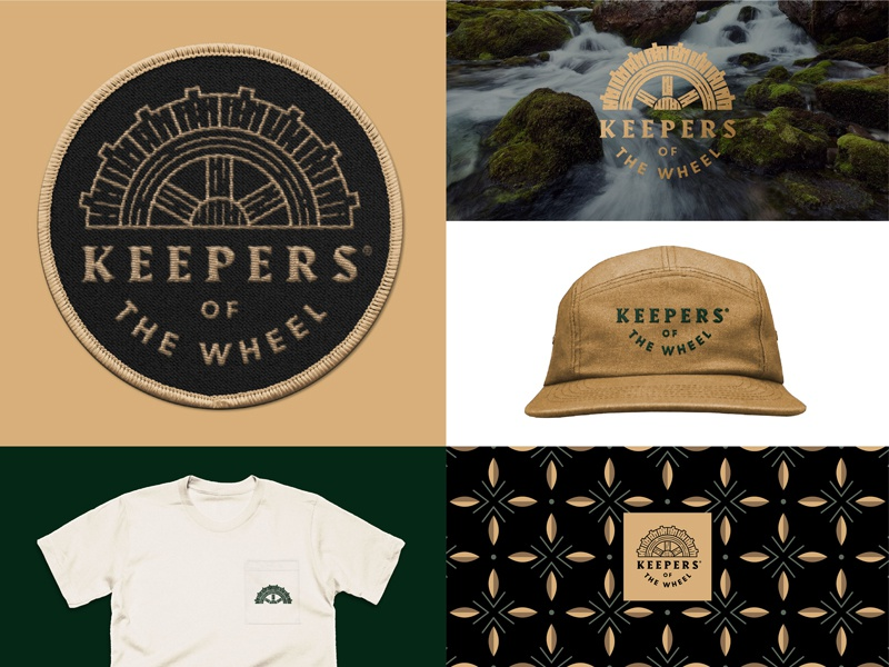 Keepers of the Wheel Pt. 2 branding pattern patch swag logo water wheel watermill whiskey
