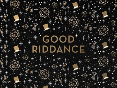 Good Riddance party hats hourglass firework champagne 2017 new year pattern