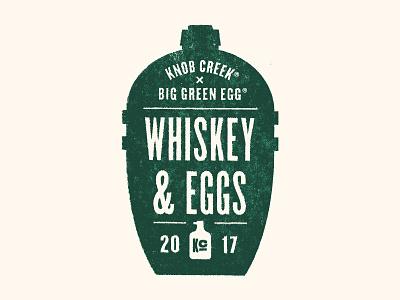 Whiskey & Eggs cooker barbecue bbq bottle food green egg whiskey knob creek branding logo