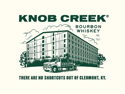 Knob Creek Warehouse barrel warehouse truck bourbon knob creek whiskey branding illustration