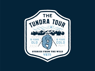 The Tundra Tour anniversary cold illustration wild outdoors mountians badge shield yeti bear