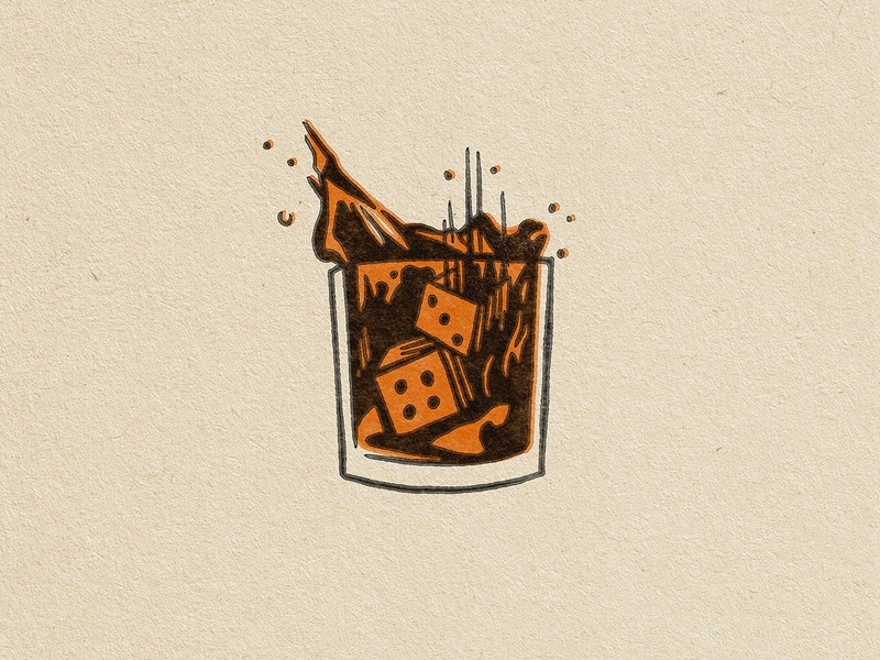 Splash dice bourbon whiskey luck illustration