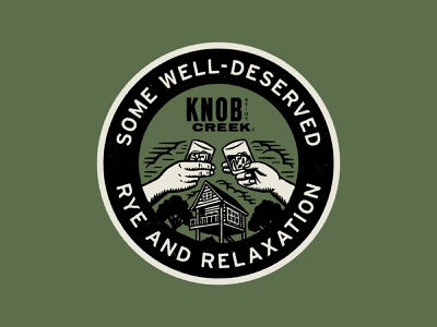 Rye & Relaxation logo badge illustration clouds camping outdoor tree house lodge camp knob creek whiskey