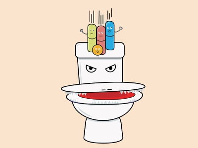 Pills and Co not in H2O colours logodesign pills toilette illustration
