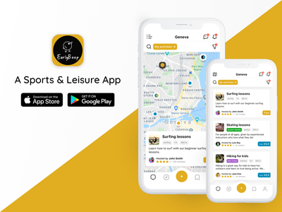 EarlyBeep - A Sports and Leisure App list location pins map booking lessons activities leisure sport product design app mobile