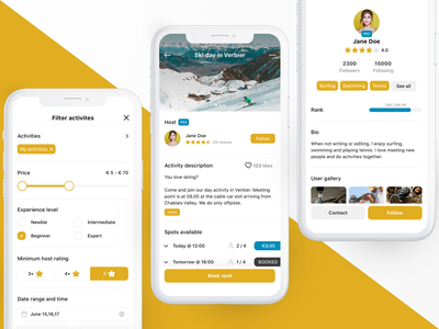 EarlyBeep - The marketplace for leisure and sports activities multiple selection range selector user profile tags rank spots profile booking filter lessons activities product design app mobile