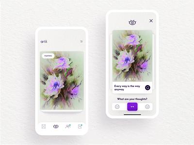 Artik - The Community App for Artists designer artist flip card feed slider consumer app art critique feedback community mobile app product design product app mobile