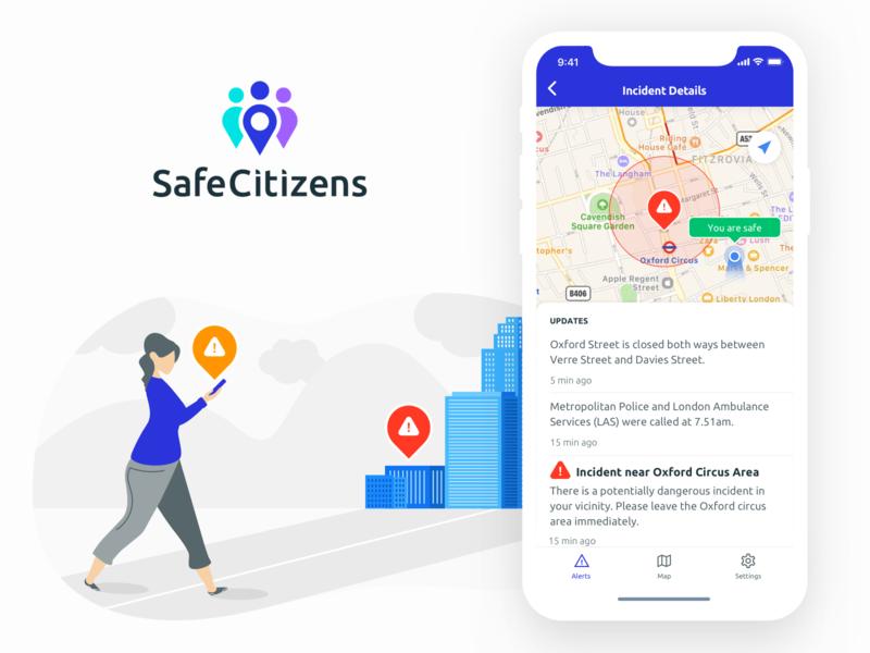Safe Citizens App danger emergency location safe alert mobile app