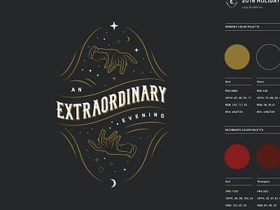 An Extraordinary Evening typography night stars sky saloon prestige old magic levitation hands gold gloves