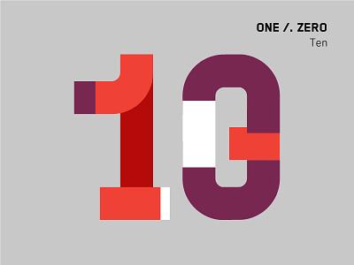 Ten Minutes for Ten type gray purple red minimal zero one ten number