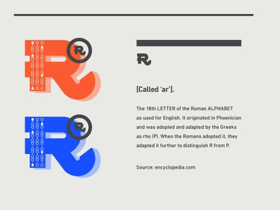 Letter R blockprint block letterform hierarchy line rules pattern red cobalt old school layout r type