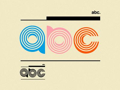 abc. minimal lines typograpgy c b a industrial retro old school geometric type