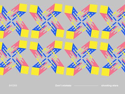 Shooting star /  841269 geometry shooting shapes square pink cobalt yellow motif type colorful pattern