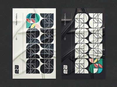 Retro Pattern poster type line petals circles triangles shapes black style minimalistic simple geometric graphic retro pattern motif layout