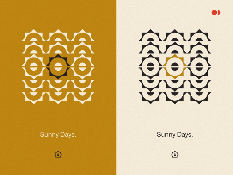 Sunny Days highlight red circles triangles fun minimalistic geometry shapes yellow mustard sun poster
