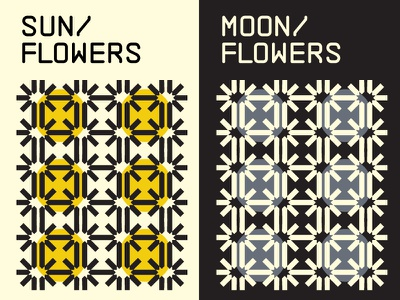 Sun/Moon flowers experiment color petals lines sunflower moonflower flowers retro color fun texture motif minimalism geometry pattern shapes abstract swiss
