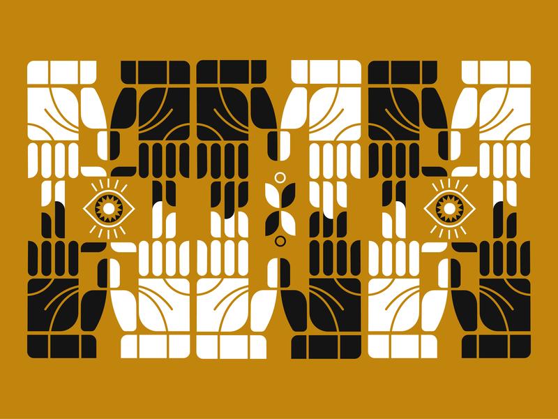 Mustard hands elements gestalt geometry shaoes white black fun motif pattern minimalistic retro eye hands