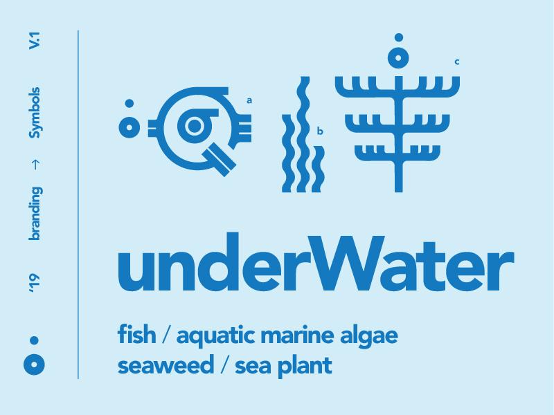 underWater symbols typography symbols sea plant sealife ocean minimalistic logomark line swiss life layout kelp illustration icons fish circles bubbles branding algae