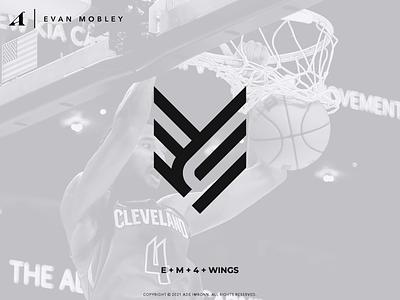 EVAN MOBLEY LOGO type wings logomark icon typography letter em logotype cleveland cavaliers evan mobley basketball nba branding monogram lettering logo