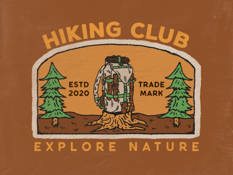 Hiking club badge vintage artwork design