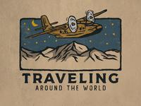 Traveling retro teesdesign logo vector art badge badass artwork apparel illustration design vintage branding