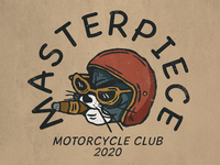 Masterpiece cat motorcycle teesdesign logo badge badass artwork apparel illustration design vintage