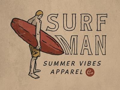 Surfman surfing logo teesdesign badge badass artwork apparel illustration design vintage