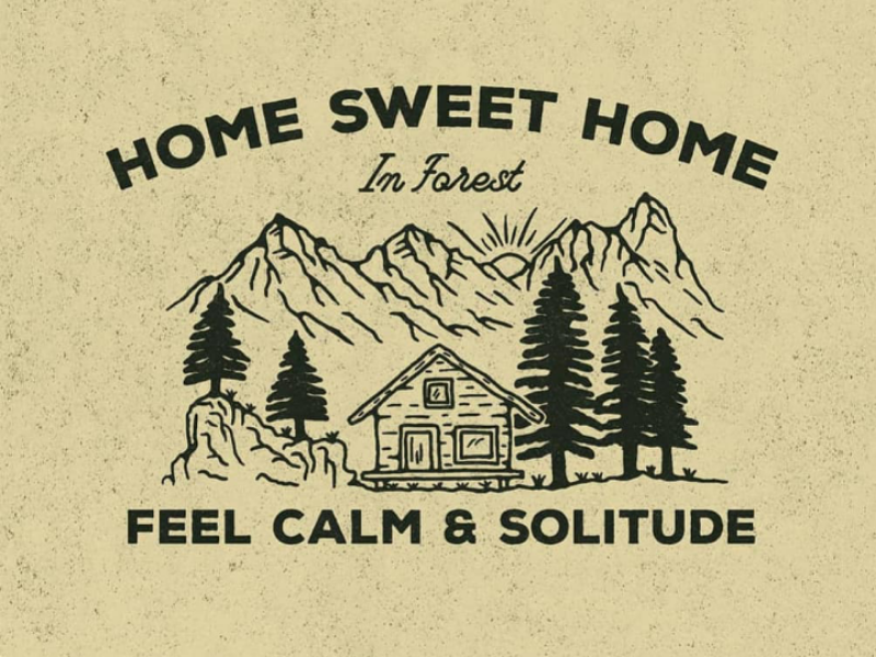 Home sweet home design vintage illustration