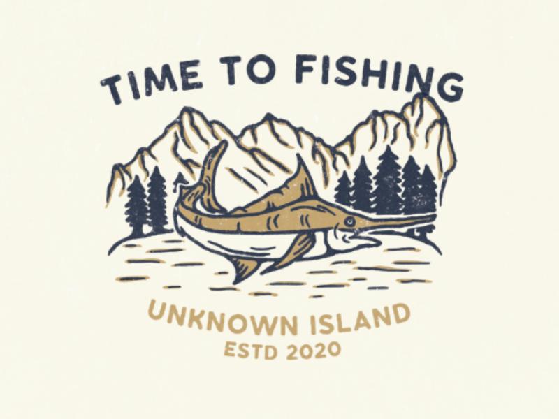 Time to fishing design vintage illustration