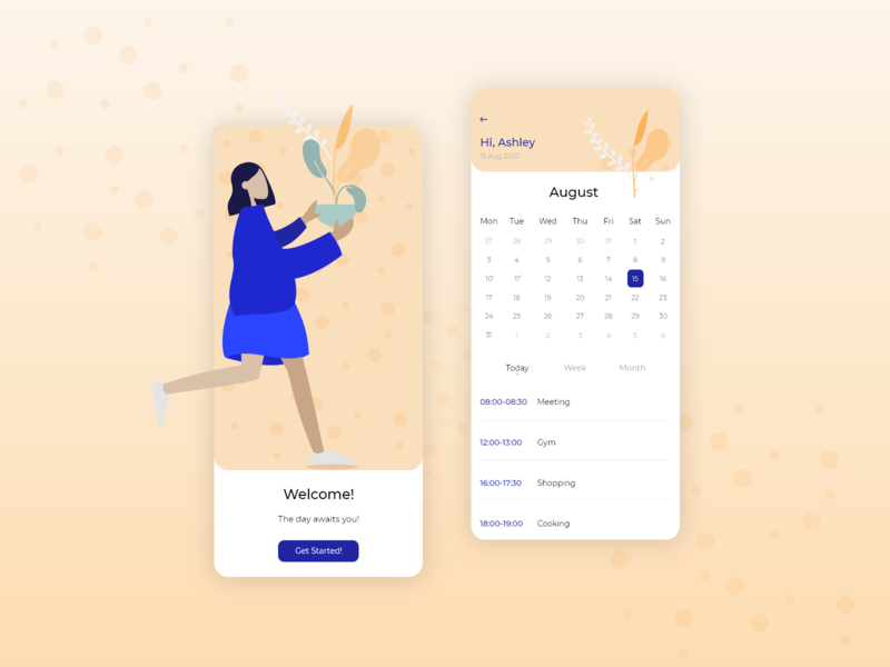 Calendar App app design ui illustration vector