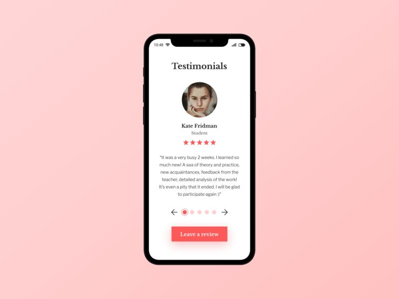 Daily UI 039 - Testimonials mobile design mobile app dailyuichallenge dailyui design web design uidesign ui
