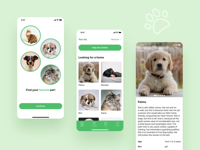 Animal shelter mobile app pet ios mobile design ui ux mobile interface mobile app web design uidesign