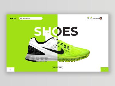 Shoes web banner web website branding typography graphic design minimal art ux ui design