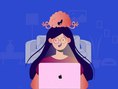 WORK JOYFULLY AND PEACEFULLY working concept character dribbleartist dribbble color dribbble best shot concetration dribbblecreative creative vectorart illustration art
