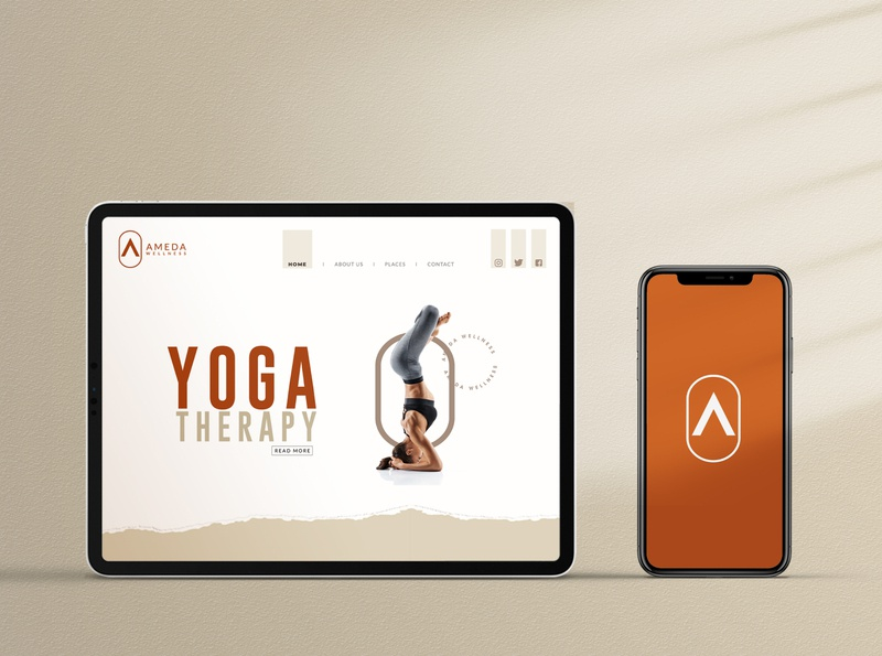 AMEDA web website fitness yoga website design branding logo creative illustration dribbblecreative ui
