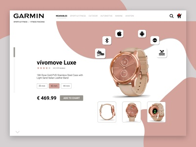 Garmin product detail page store template interface lifestyle webdesign uidesign landing page cart ui shop clean concept design ecommerce design ecommerce product minimalistic website