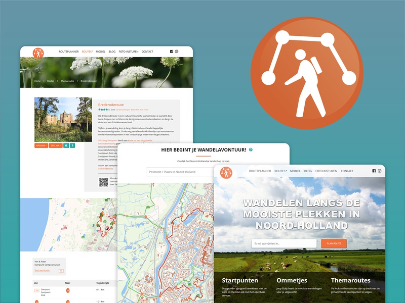 Website Wandelnetwerk Noord-Holland logo nature explore web hiking map homepage visual design webdesign uidesign branding redesign design thesis ux user interface ui website web design interface