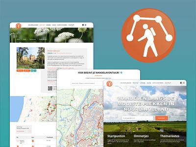 Website Wandelnetwerk Noord-Holland logo nature explore web hiking map homepage visual design webdesign uidesign branding redesign design thesis ux user interface ui website web design interface