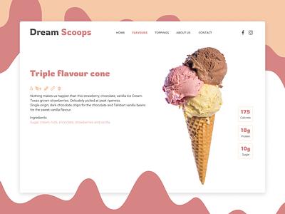 Dream Scoops visual shop ice cream pink pastel simplicity ui  ux website design webdesign web ui design website clean concept ux uidesign user interface ui interface design