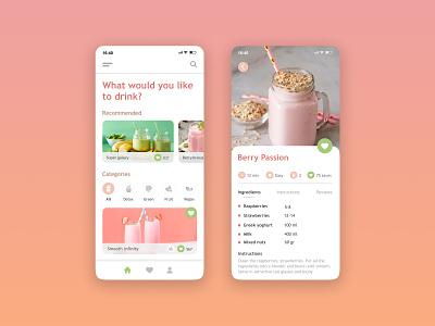 Smoothies web clean smoothies recipe concept design ux ui ui design uidesign user interface interface app design mobile app mobile app