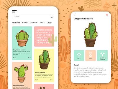 Looking sharp cacti flower minimal graphics interface concept vector pastel color ux ui mobile design app design app plants cactus