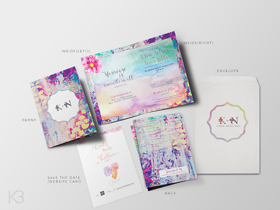 Kristy weds Kalyan-Wedding Invitation print colorful savethedate watercolor pink feminine invitation stationery invite wedding