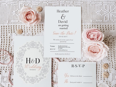 Wedding Save the date/RSVP invitation white black clean save the date savethedate invite wedding psd website rose feminine