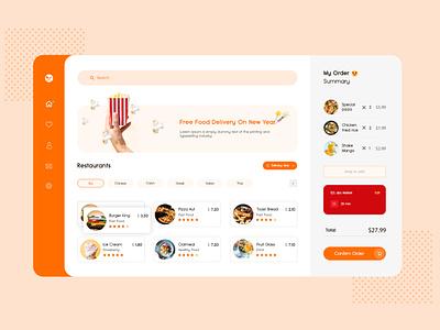 Food Delivery Dashboard e-commerce website mokeup design homepage design branding website flat icon ux ui vector design